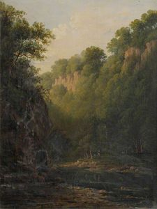 A Rocky Ravine With Trees And Figures Beside A River