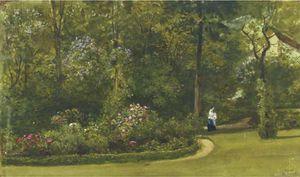 一个 走路  在  的  花园