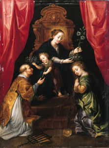 The Madonna And Child Enthroned, Adored