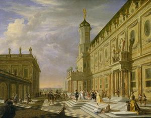 Elegant Figures In A Palace Forecourt
