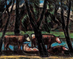 vaches au milieu de  arbres