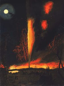 Burning Oil Well At Night