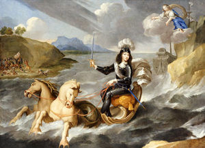 An Allegory Of King Louis Xiv In Armour Hailed As King Of The Sea By The Personification Of France