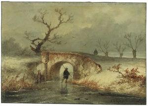 A Man Skating On A Frozen Dyke, Passing A Bridge