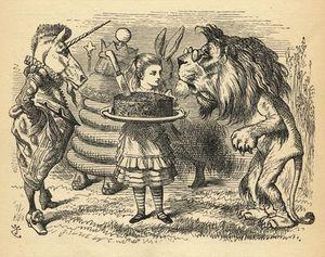 ライオンの間にケーキを共有します