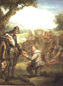 Don Quixote After The Duel With The Brave Biscayan, Leans On His Horse Rosinante, While Sancho Panch
