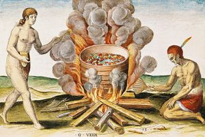 Cooking Food In A Terracotta Pot, From Admiranda Narratio... , Engraved By Gysbert Van Veen 88 Large