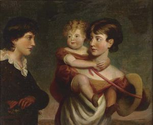 Portrait Of A Girl Carrying A Child And A Boy