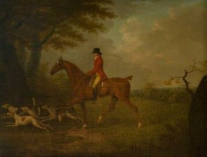 A Huntsman And Three Hounds At The Edge Of A Wood