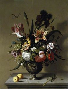 Metal Vase Of Flowers