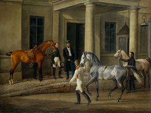 Two Noble Horses Are Demonstrated To The Lord Of The Castle