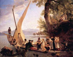 huile unique peinture de Une mariage Obtenir prêt à mettre les voiles