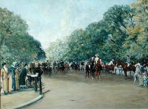 View Of Hyde Park With Figures On Rotten Row
