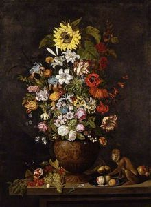 A Vase Of Flowers With A Monkey