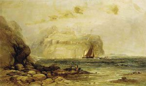 A Coastal View With Figures On The Rocks