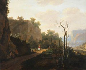 A Rocky Landscape With Figures, Sunset