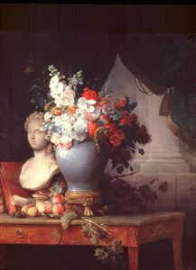 Vase Of Flowers With A Bust Of Flora