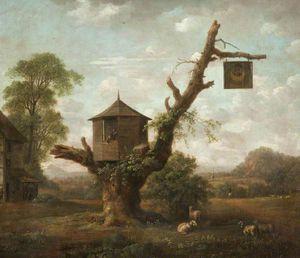 Пейзаж с Хижина в дуб и «Человек на Луне» Inn