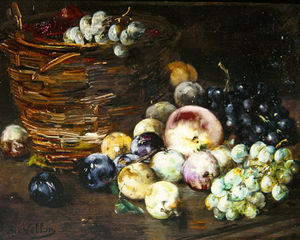Still Life Of A Basket With Fruits