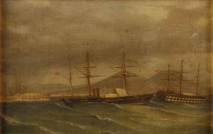 A Paddle Frigate In A Rough Sea Off Naples