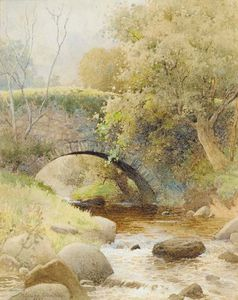 A Bridge Over A Stream In A Wooded Landscape