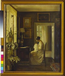 An Interior With A Woman Sewing