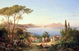Bay Of Naples With Dancing Italians