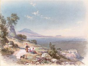 Figures With A Donkey Resting By The Steps Overlooking The Bay
