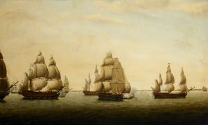 An English Frigate Chased By The French Off The Indian Coast