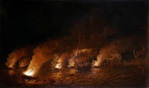 French Fire-ships Attacking The English Fleet Off Quebec