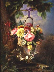 Basket Of Roses With Fuschia