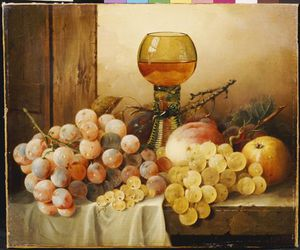 Plums And A Peach With Hock Glass