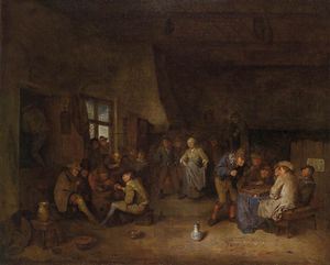 Tavern Interior With Chess Players