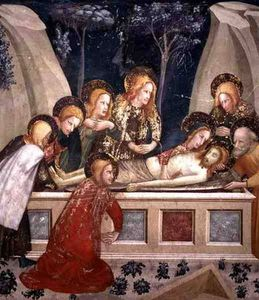 Jesus In The Tomb With The Apostles And His Mother
