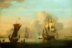 Sea Piece - English Frigates At Anchor In A Calm, Saluting