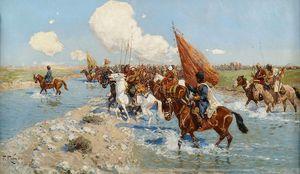 Circassian Horsemen Crossing A River