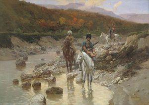Cossacks Near A Mountain River