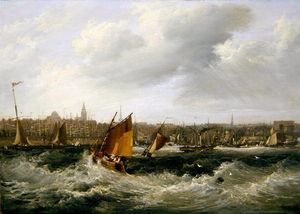 Liverpool, Lancashire From The River Mersey And New Brighton, (oil On Canvas) - (257)