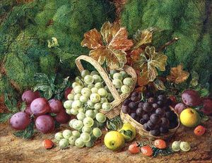 Still Life With Plums, Apples And Baskets Of Grapes