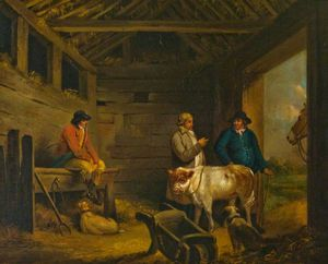 A Barn With Three Men And A Calf