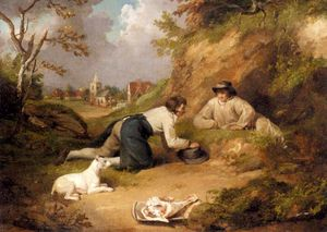 Two Men Hunting Rabbits With Their Dog