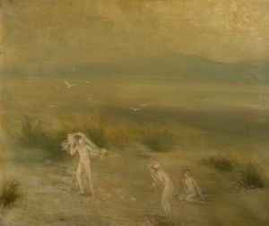Three Figures In A Landscape With Birds