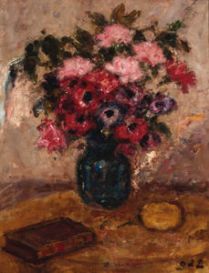 Roses And Anemonies In A Vase On A Table