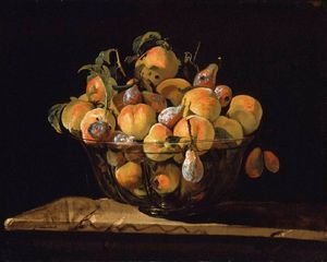 Peaches And Pears In Glass Bowl