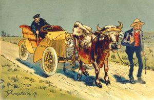 Cow Pulling A Motor Car