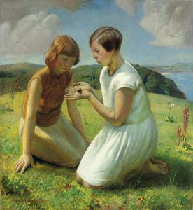 Two Young Girls With A Butterfly