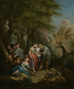 Shepherdesses With A Fortune-teller By A Waterfall
