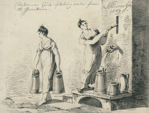 Caledonian Girls Fetching Water From The Fountain