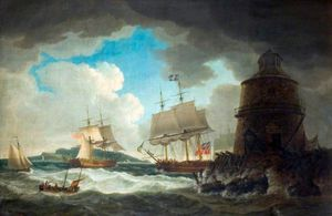 The Lighthouse In The Bay Of Dublin, With His Majesty's Yacht 'dorset'