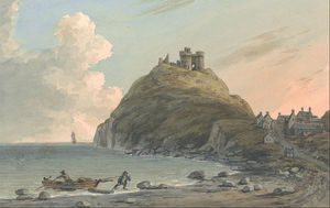 Ruins Of Cricceith Castle And Part Of The Town On The Bay On Cardigan